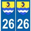 26 Drôme autocollant plaque blason armoiries stickers département