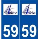 59 Aniche logo autocollant plaque stickers ville