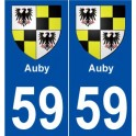 59 Auby coat of arms sticker plate stickers city
