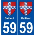 59 Bailleul blason autocollant plaque stickers ville