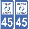 45 Loiret autocollant plaque