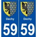 59 Dechy blason autocollant plaque stickers ville