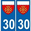 30 Gard autocollant plaque blason armoiries stickers département