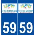 59 Denain logo autocollant plaque stickers ville