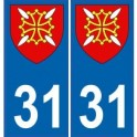 31 Haute Garonne autocollant plaque blason armoiries stickers département