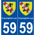 59 Erquinghem-Lys coat of arms sticker plate stickers city