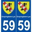 59 Erquinghem-Lys blason autocollant plaque stickers ville