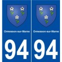 94 Ormesson-sur-Marne coat of arms sticker plate stickers city