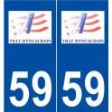 59 Escaudain logo autocollant plaque stickers ville