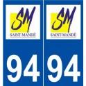 94 Saint-Mandé logo autocollant plaque stickers ville