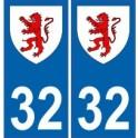 32 Gers autocollant plaque blason armoiries stickers département