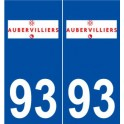 93 Aubervilliers logo autocollant plaque stickers ville