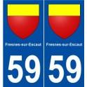 59 Fresnes-sur-Escaut coat of arms sticker plate stickers city