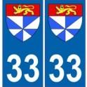 33 Gironde autocollant plaque blason armoiries stickers département