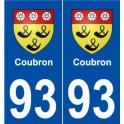 93 Coubron blason autocollant plaque stickers ville