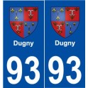 93 Dugny coat of arms sticker plate stickers city