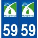 59 Houplines logo autocollant plaque stickers ville