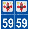 59 La Chapelle-d'armentières coat of arms sticker plate stickers city