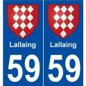 59 Lallaing blason autocollant plaque stickers ville