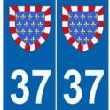 37 Indre et Loire autocollant plaque blason armoiries stickers département