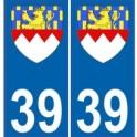 39 Jura autocollant plaque blason armoiries stickers département