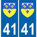 41 Loir et Cher autocollant plaque blason armoiries stickers département