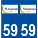 59 Maubeuge logo autocollant plaque stickers ville