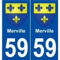 59 Merville coat of arms sticker plate stickers city
