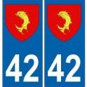 42 Loire autocollant plaque blason armoiries stickers département