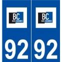 92 Bois-Colombes logo autocollant plaque stickers ville