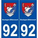 92 Boulogne-Billancourt, france coat of arms decal plate sticker city