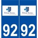 92 Bourg-la-Reine logo autocollant plaque stickers ville
