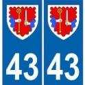 43 Haute Loire autocollant plaque blason armoiries stickers département