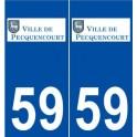 59 Pecquencourt logo autocollant plaque stickers ville