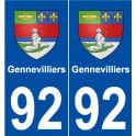 92 Gennevilliers blason autocollant plaque stickers ville