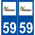 59 Raismes logo autocollant plaque stickers ville