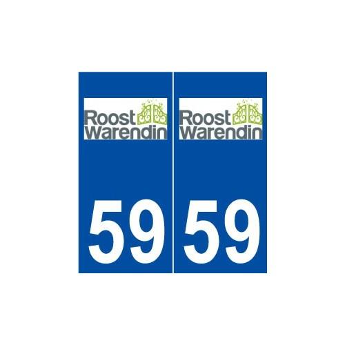 59 Roost-Warendin logo autocollant plaque stickers ville