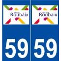 59 Roubaix logo autocollant plaque stickers ville