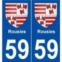 59 Rousies blason autocollant plaque stickers ville