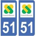 51 Marne autocollant plaque