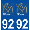 92 Rueil-Malmaison logo autocollant plaque stickers ville