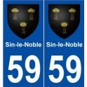 59 Sin-le-Noble blason autocollant plaque stickers ville