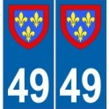 49 Maine et Loire autocollant plaque blason armoiries stickers département