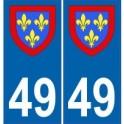 49 Maine et Loire autocollant plaque blason armoiries stickers département