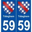 59 Téteghem blason autocollant plaque stickers ville