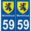 59 Wormhout blason autocollant plaque stickers ville