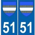 51 Marne autocollant plaque blason armoiries stickers département