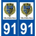 91 Athis-Mons logo sticker plate stickers city