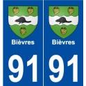 91 Bièvres blason autocollant plaque stickers ville
