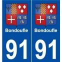 91 Bondoufle blason autocollant plaque stickers ville